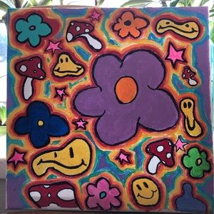 Hand painted Funky psychedelic acrylic painting